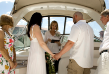 Stephanie Shaffer of Weddings Made Simple officiating Naples, Florida boat wedding | Weddings Made Simple DISC Temperament Assessment, Pre and Post Marriage Coaching, Wedding Officiants and Wedding Ministers Naples Florida